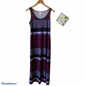 Motherhood maternity purple striped maxi dress